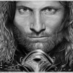 Um retrato espetacular de Aragorn feito na ponta do lápis