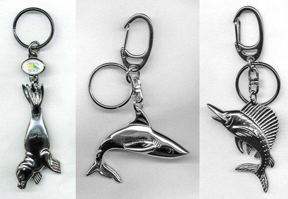 Chaveiros tubarão, foca e marlim