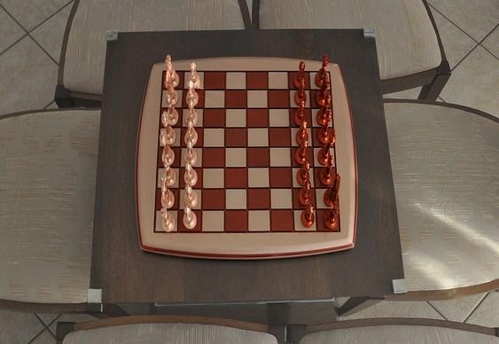 Peças e tabuleiro de xadrez