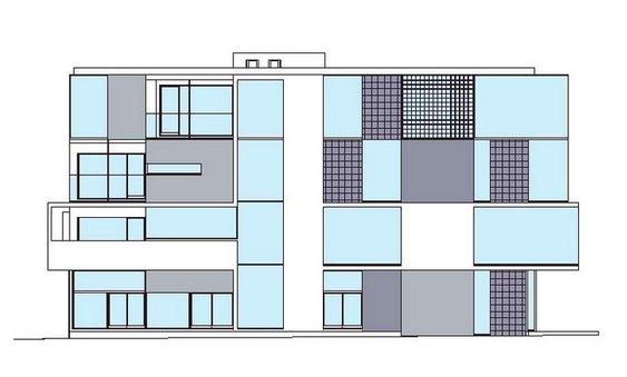 Planta com fachada de prédio em terreno triangular