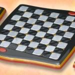 Tabuleiro para damas e xadrez inspirado em jogos eletrônicos