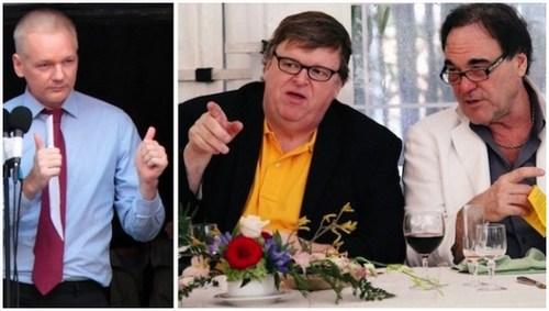 Julian Assange, Michael Moore e Oliver Stone