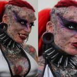 Mulher Vampira vai para o Livro Guinness de Recordes com suas tatuagens