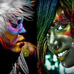 Arte digital: manipulação tecnológica de belos rostos de mulheres