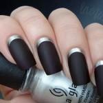 A moda do esmalte preto fosco e prata brilhante para as unhas