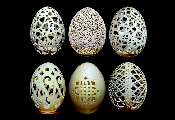 Cascas de ovos esculpidas