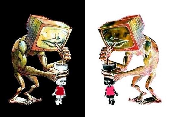 Televisão chupando cérebros