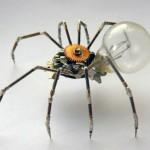 Sucata de relógio reciclada em esculturas mecânicas de insetos