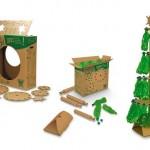 Kit para montar árvore de Natal com papelão e garrafas PET