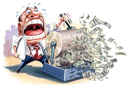 Banqueiro rodando a máquina de impressão de dinheiro
