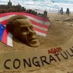 Obama ganha esculturas de areia por vitória em eleição nos EUA