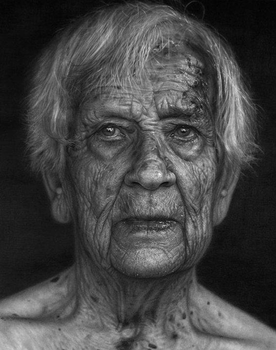 Retrato realista de velho