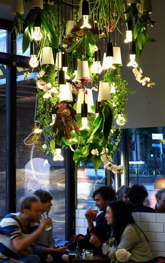 Iluminação com plantas para bares