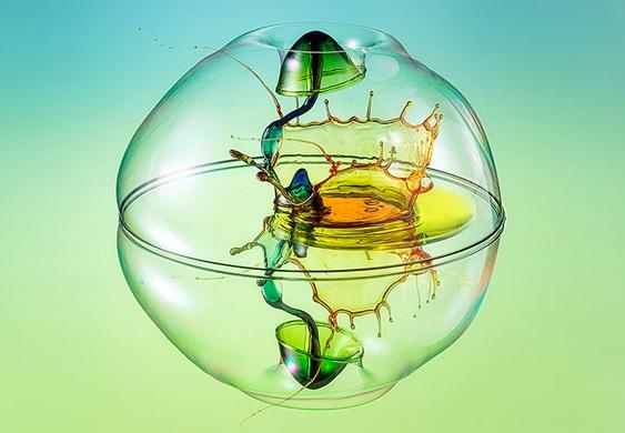 Arte com água colorida