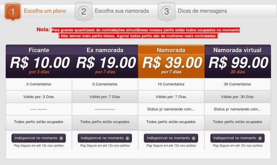 Tabela de preços - Namoro Fake Facebook