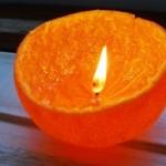 Faça uma vela charmosa e romântica com casca de tangerina