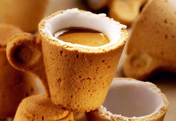 Xícara comestível para cafezinho