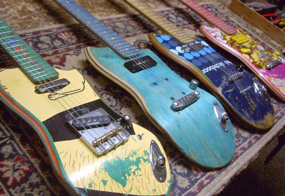 Reciclagem de skates velhos em guitarras