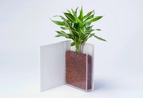 Vaso de flor em livro