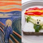 Réplicas de quadros de pintores famosos feitas com comida