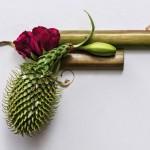 Plantas e flores em protesto orgânico contra armas de fogo