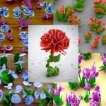 Flores de cristais microscópicos formados por reação química