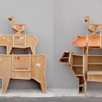Móveis rústicos inspirados nas formas de animais de fazenda