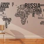 Mapa-mundi formado por nuvem de tags com nomes de países