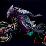 A motocicleta The Revolver com motor a ar comprimido