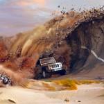 Jipeiro surfa na maior 'onda' e entuba a pista de asfalto