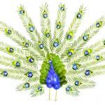 Pássaros coloridos feitos com pétalas e folhagens de flores
