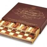 Jogo de xadrez comestível de luxo feito com chocolate belga