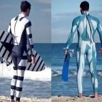 Roupa estampada protege surfista contra ataques de tubarão