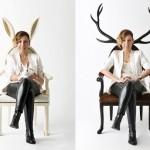 Cadeiras com encosto decorado por grandes orelhas e chifres