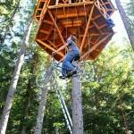 Bicicleta adaptada como elevador faz rapel em árvores altas