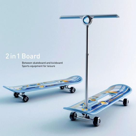 Skate e patinete 2 em 1