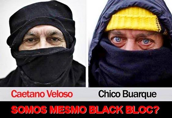 Caetano e Chico de máscara