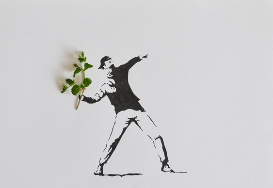 Arte com folhas
