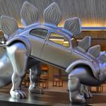 Fusca e helicóptero revivem como dinossauros em esculturas
