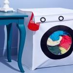 Cesto de roupa suja imita a forma de uma máquina de lavar