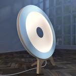 Projeto para luminária redonda de chão em cavalete de madeira