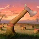Fábula do machado que deu cabo da floresta, em reflexão política