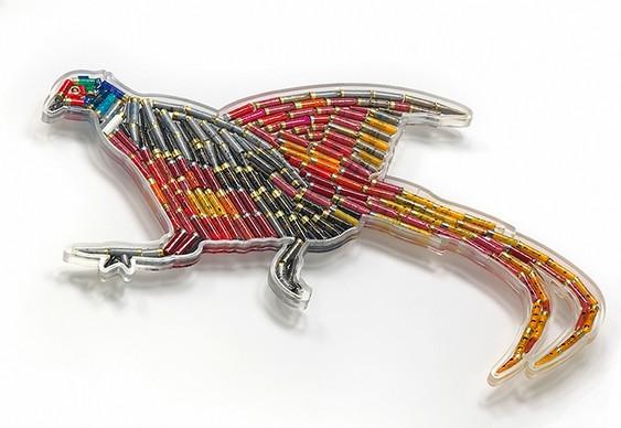 Arte com balas e projéteis usados na caça de aves