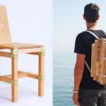 Cadeira nômade de madeira desmontável para carregar como mochila