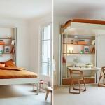 Cama-elevador libera espaço para a mesa em quarto apertado