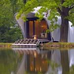 Projeto barato para construção de casa de campo com pier no lago
