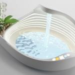 Lavatório, banheira e chuveiro eletrônicos com iluminação por LEDs