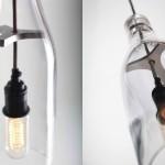 Suporte de metal para luminária de vidro feita com garrafa cortada