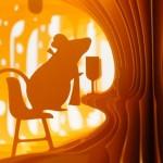 Ratinho faz a festa em painéis de diorama tridimensional de queijo suíço