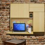 Móvel de parede com mesa e prateleiras para notebooks e celulares